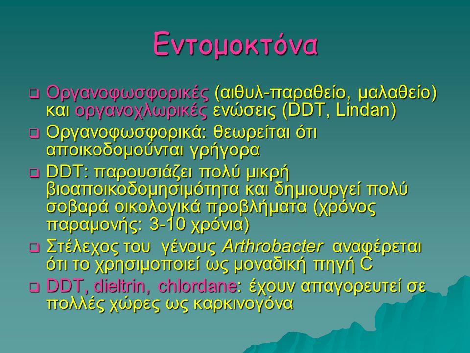 Εντομοκτόνα Οργανοφωσφορικές (αιθυλ-παραθείο, μαλαθείο) και οργανοχλωρικές ενώσεις (DDT, Lindan)