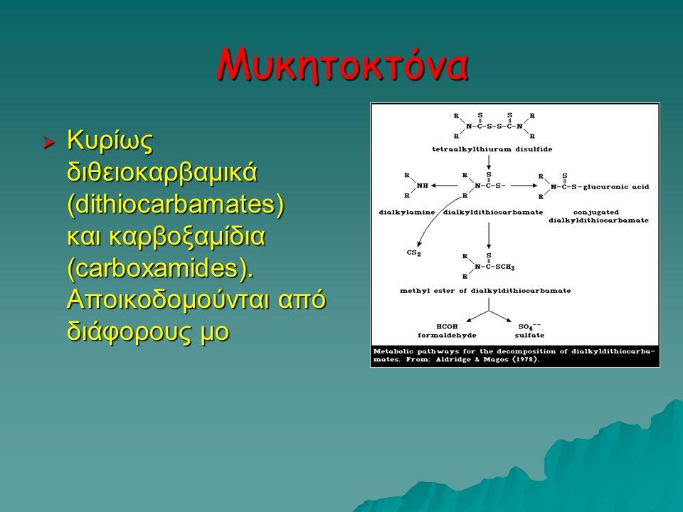 Μυκητοκτόνα Κυρίως διθειοκαρβαμικά (dithiocarbamates) και καρβοξαμίδια (carboxamides).