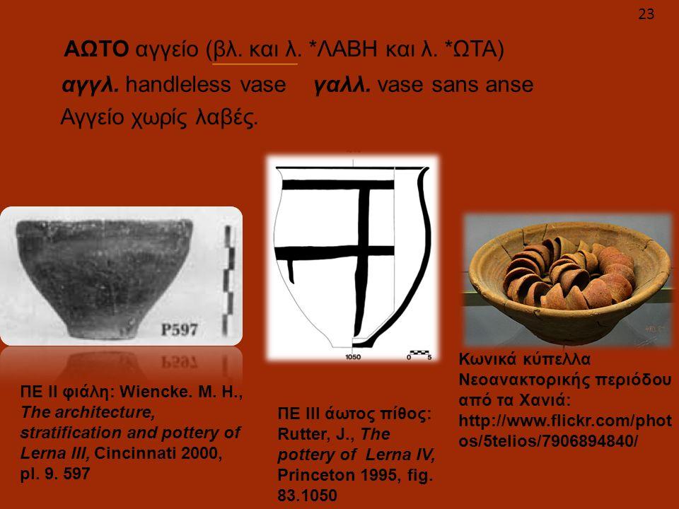 ΑΩΤΟ αγγείο (βλ. και λ. *ΛΑΒΗ και λ. *ΩΤΑ)