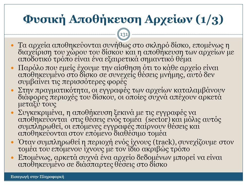 Φυσική Αποθήκευση Αρχείων (1/3)