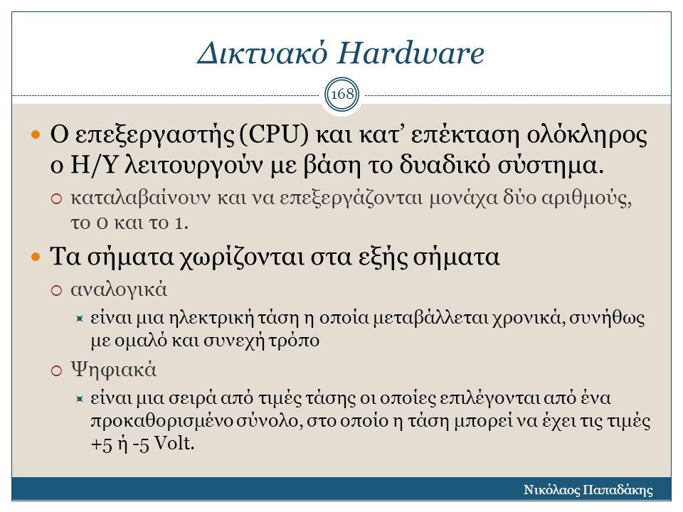 Δικτυακό Hardware Ο επεξεργαστής (CPU) και κατ' επέκταση ολόκληρος ο Η/Υ λειτουργούν με βάση το δυαδικό σύστημα.