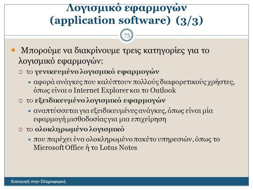 Λογισμικό εφαρμογών (application software) (3/3)