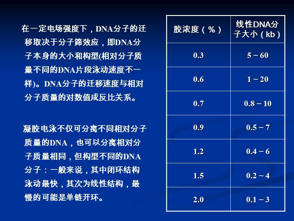 胶浓度(%) 线性DNA分子大小(kb) 0.3. 5~60. 0.6. 1~20. 0.7. 0.8~10. 0.9. 0.5~7. 1.2. 0.4~6. 1.5. 0.2~4.