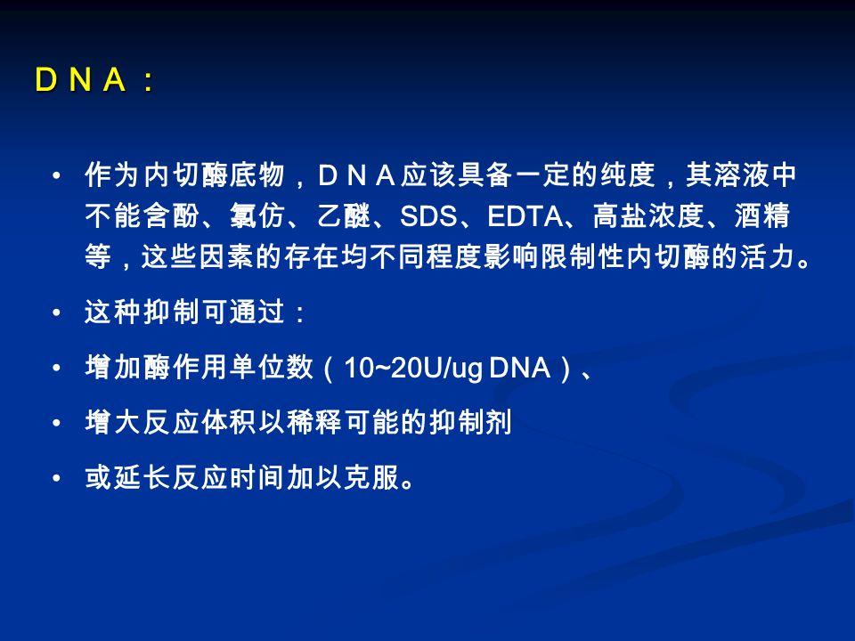 DNA: 作为内切酶底物,DNA应该具备一定的纯度,其溶液中 不能含酚、氯仿、乙醚、SDS、EDTA、高盐浓度、酒精等, 这些因素的存在均不同程度影响限制性内切酶的活力。 这种抑制可通过: 增加酶作用单位数(10~20U/ug DNA)、