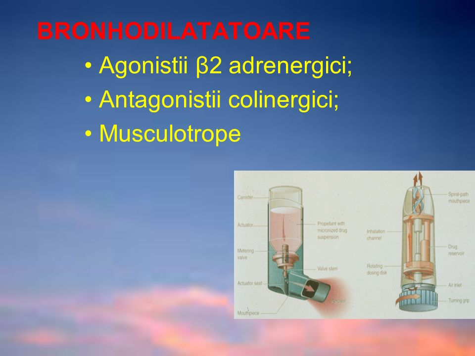 BRONHODILATATOARE • Agonistii β2 adrenergici; • Antagonistii colinergici; • Musculotrope