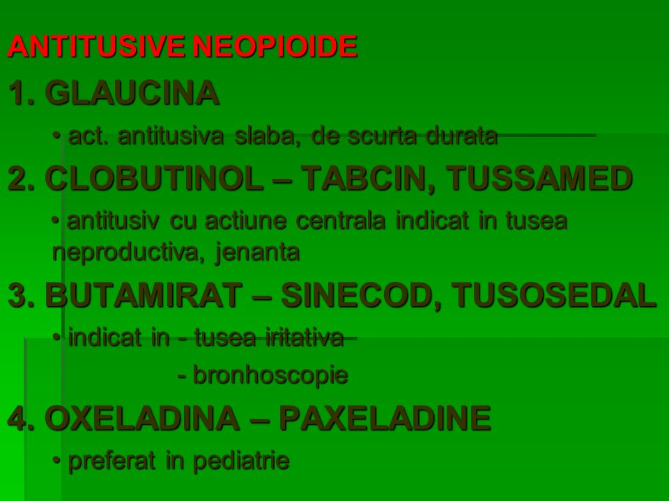 2. CLOBUTINOL – TABCIN, TUSSAMED