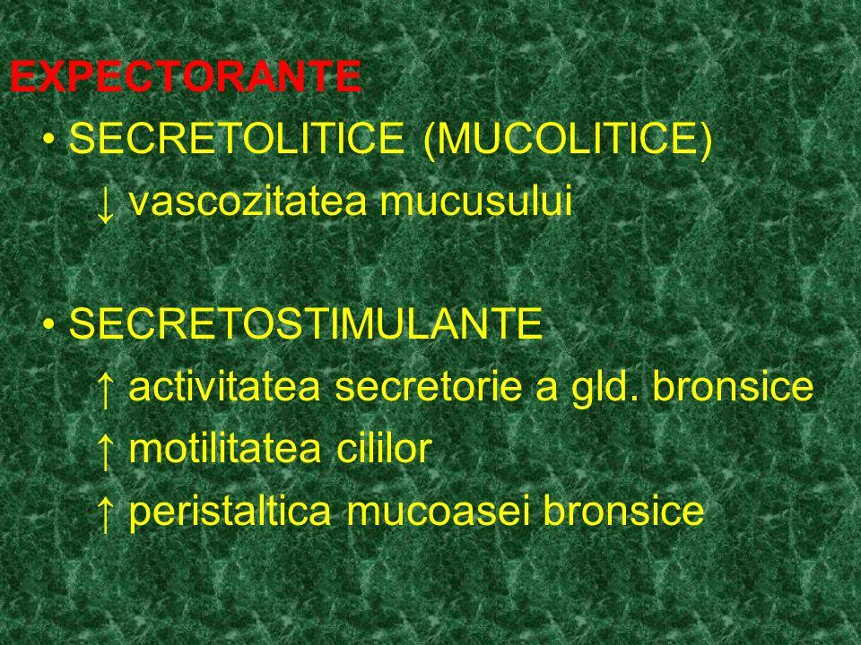 EXPECTORANTE • SECRETOLITICE (MUCOLITICE) ↓ vascozitatea mucusului. • SECRETOSTIMULANTE. ↑ activitatea secretorie a gld. bronsice.
