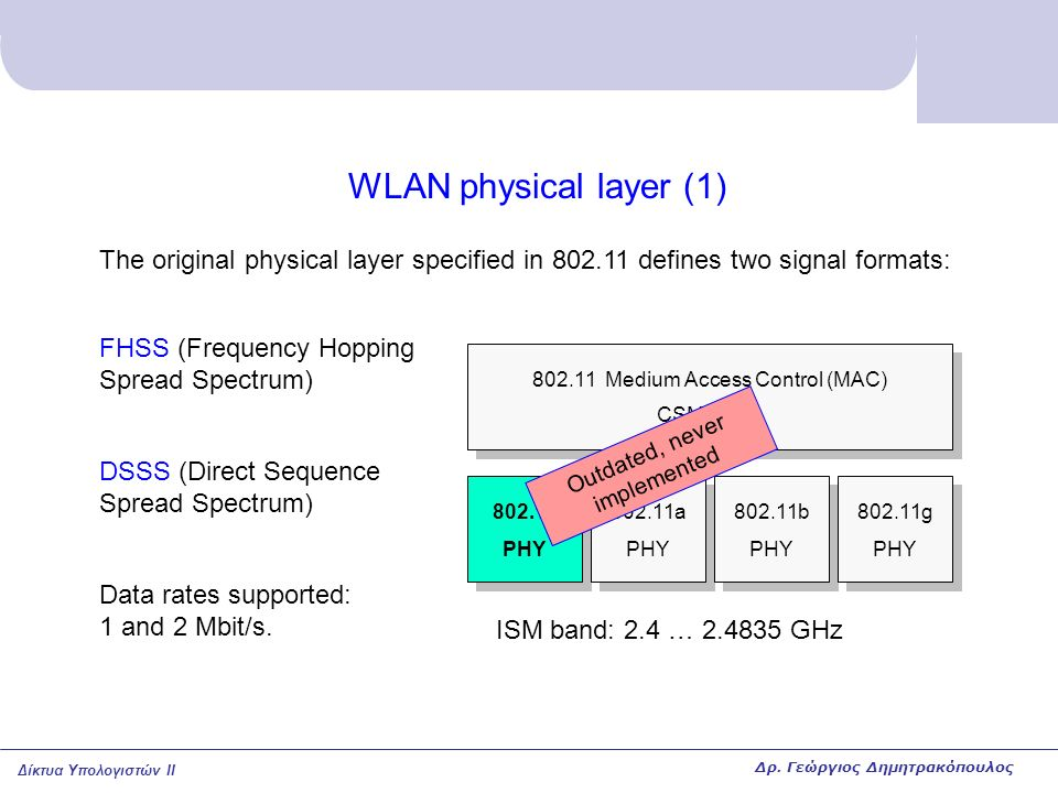 WLAN physical layer (1) The original physical layer specified in 802.11 defines two signal formats: