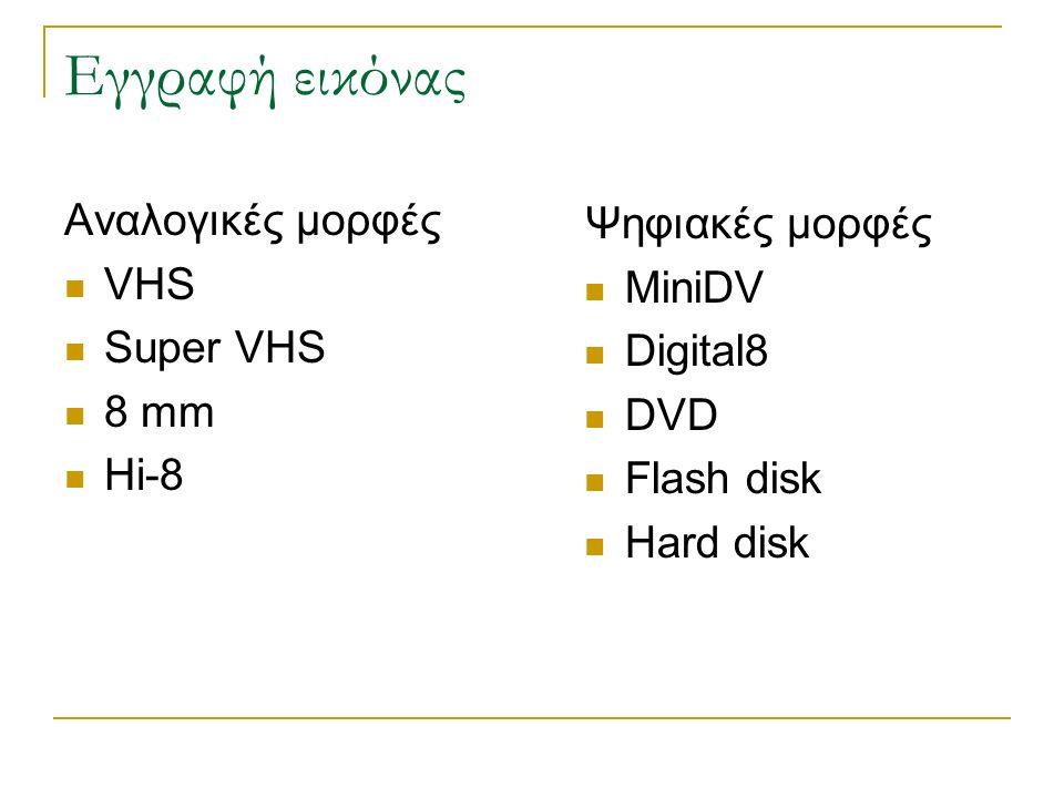 Εγγραφή εικόνας Αναλογικές μορφές Ψηφιακές μορφές VHS MiniDV Super VHS