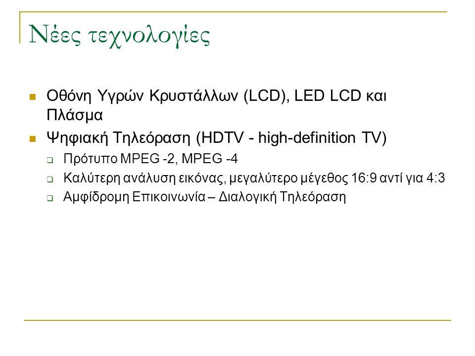 Νέες τεχνολογίες Οθόνη Υγρών Κρυστάλλων (LCD), LED LCD και Πλάσμα