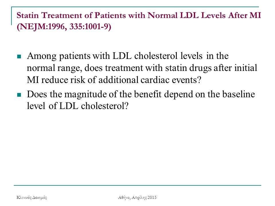 Statin Treatment of Patients with Normal LDL Levels After MI (NEJM:1996, 335:1001-9)