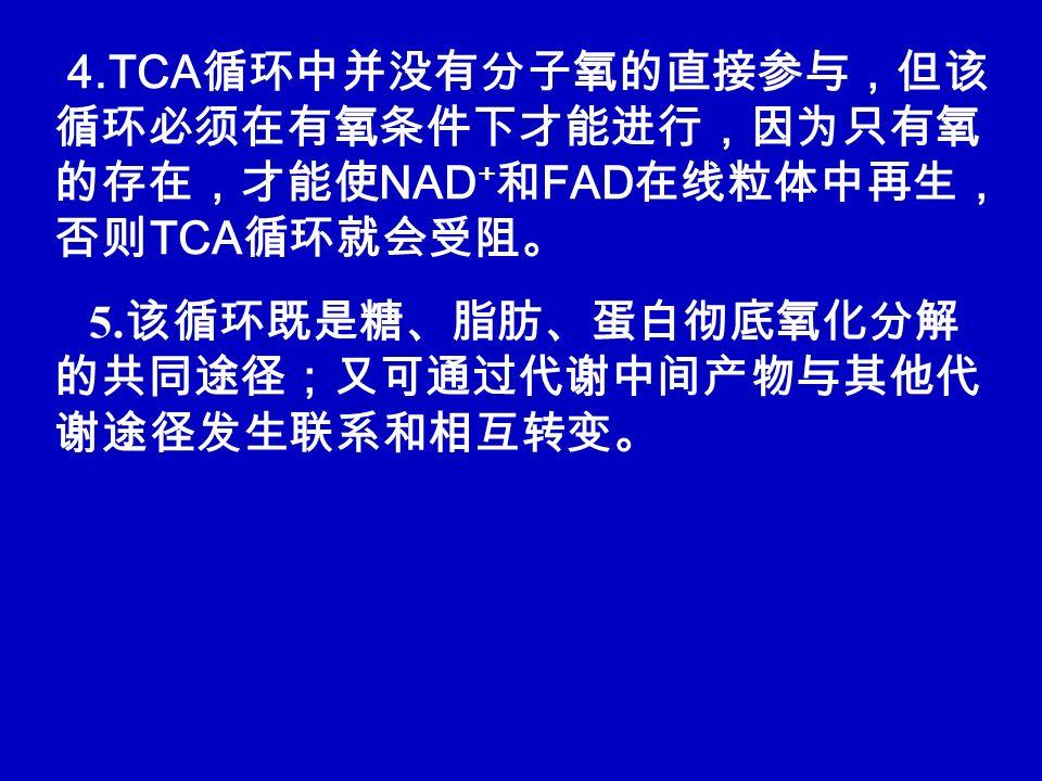4.TCA循环中并没有分子氧的直接参与,但该循环必须在有氧条件下才能进行,因为只有氧的存在,才能使NAD+和FAD在线粒体中再生,否则TCA循环就会受阻。