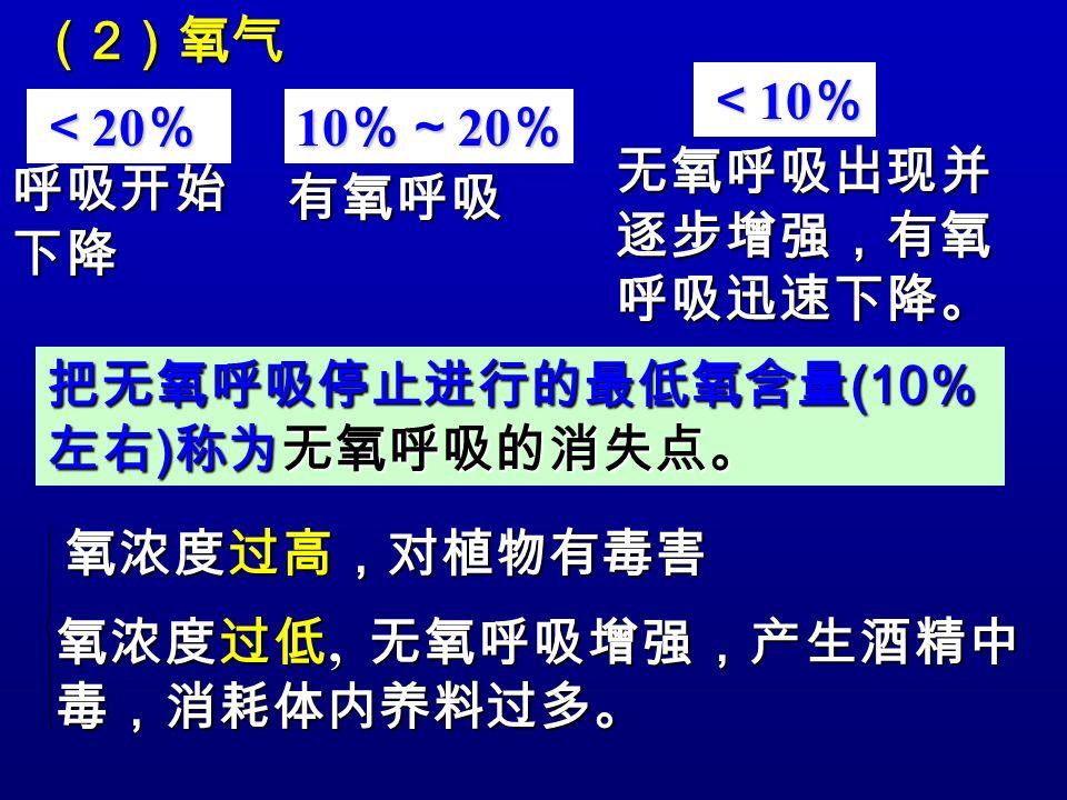 (2)氧气 <10% <20% 10%~20% 无氧呼吸出现并逐步增强,有氧呼吸迅速下降。 呼吸开始下降. 有氧呼吸. 把无氧呼吸停止进行的最低氧含量(10%左右)称为无氧呼吸的消失点。