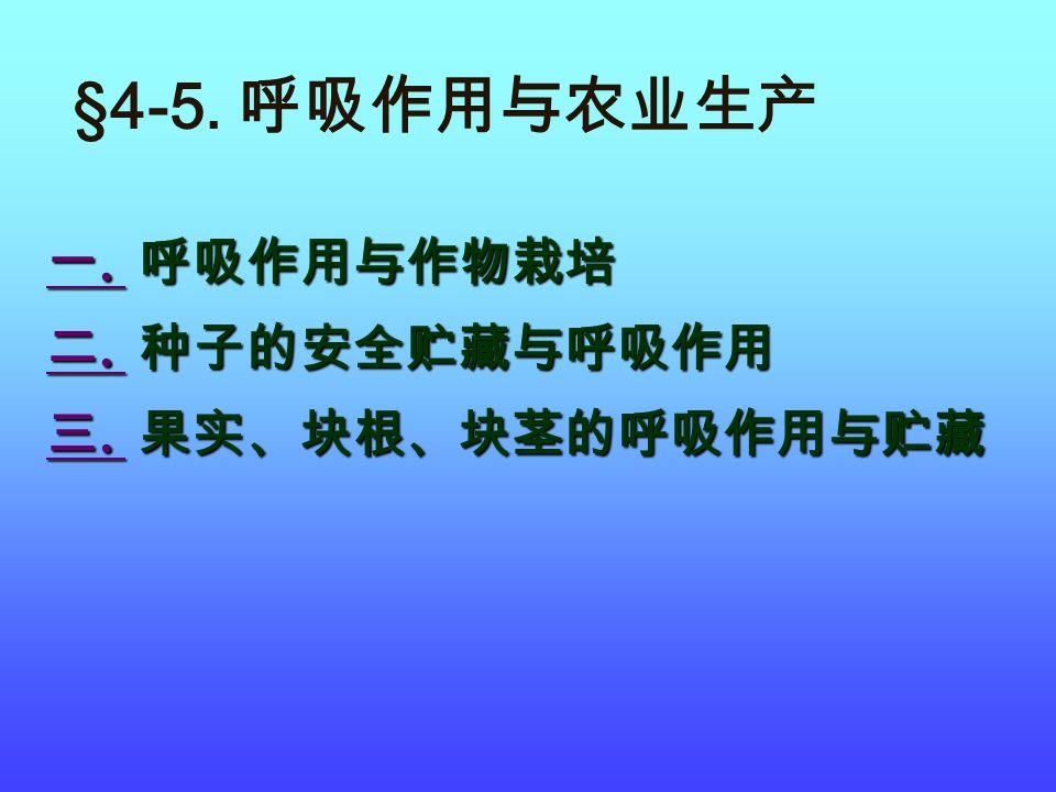 §4-5. 呼吸作用与农业生产 一. 呼吸作用与作物栽培 二. 种子的安全贮藏与呼吸作用 三. 果实、块根、块茎的呼吸作用与贮藏