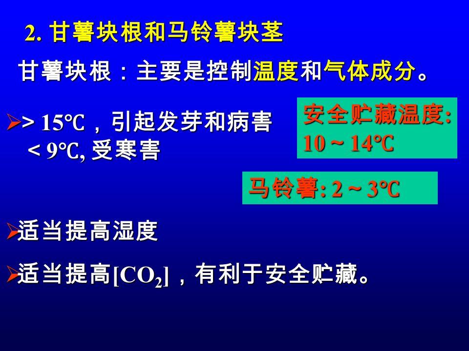 2. 甘薯块根和马铃薯块茎 甘薯块根:主要是控制温度和气体成分。 安全贮藏温度: 10~14℃ >15℃,引起发芽和病害.