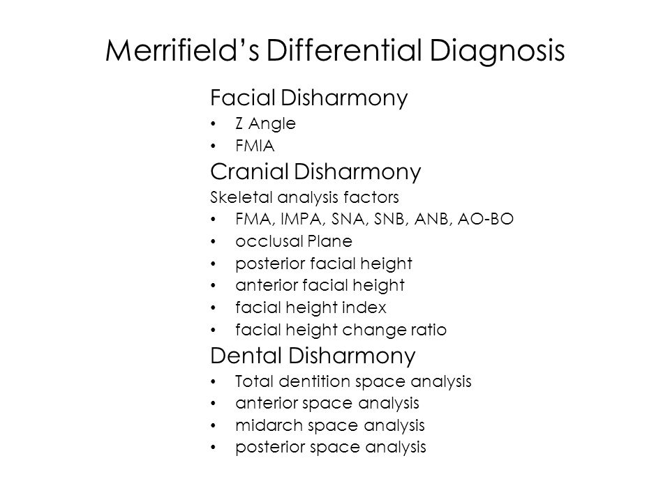 Merrifield's Differential Diagnosis