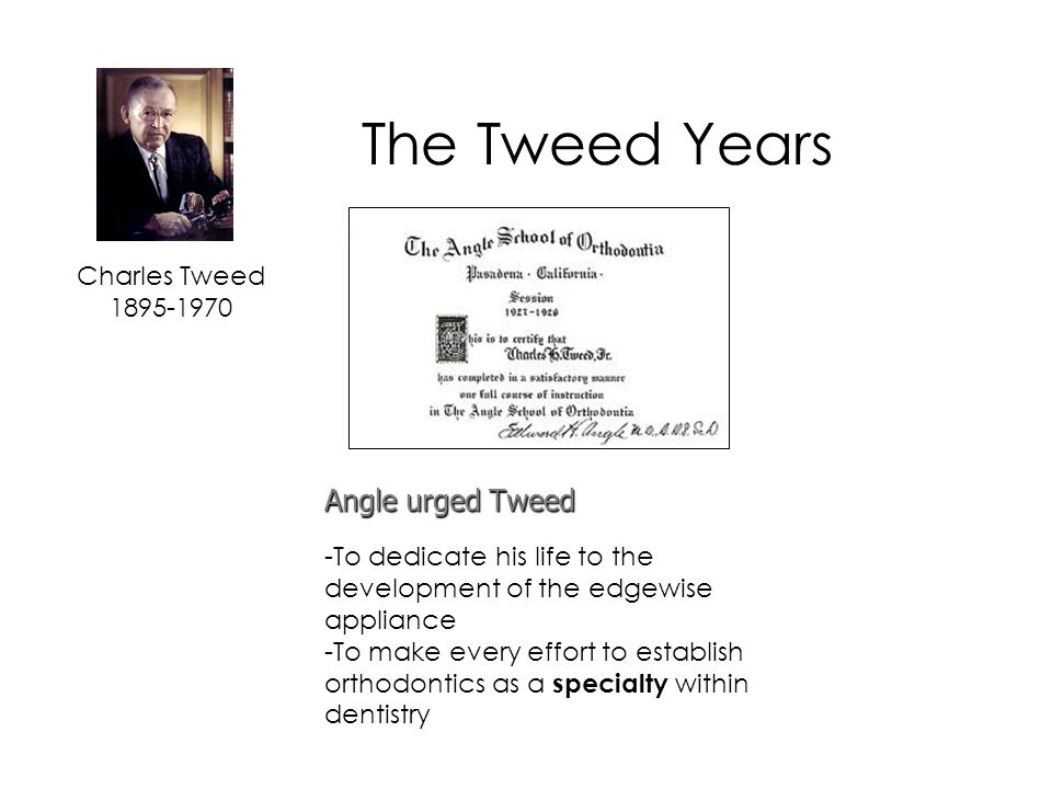 The Tweed Years Angle urged Tweed Charles Tweed 1895-1970
