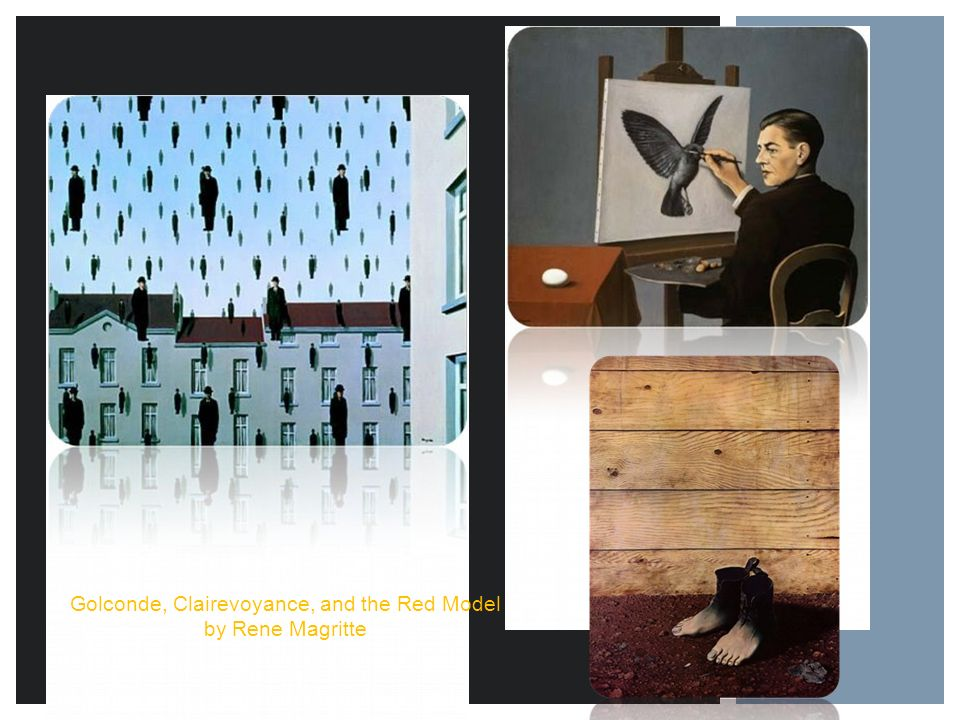 Golconde, Clairevoyance, and the Red Model by Rene Magritte