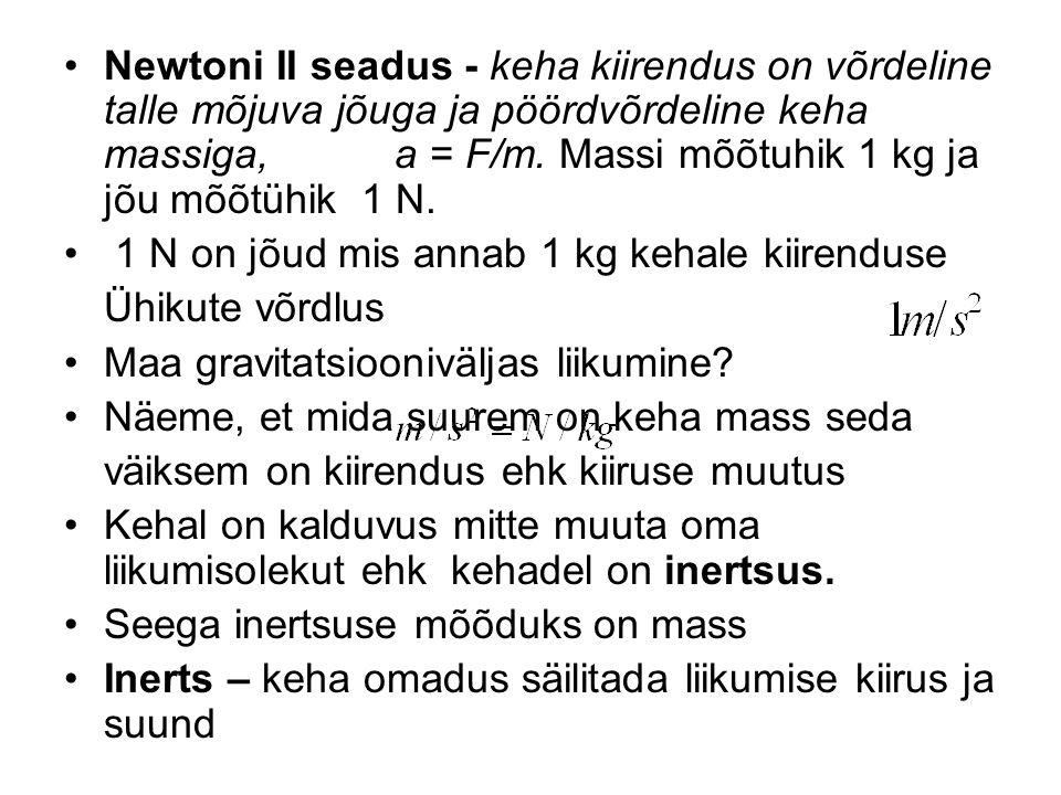 Newtoni II seadus - keha kiirendus on võrdeline talle mõjuva jõuga ja pöördvõrdeline keha massiga, a = F/m. Massi mõõtuhik 1 kg ja jõu mõõtühik 1 N.