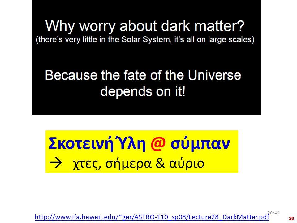 Σκοτεινή Ύλη @ σύμπαν  χτες, σήμερα & αύριο