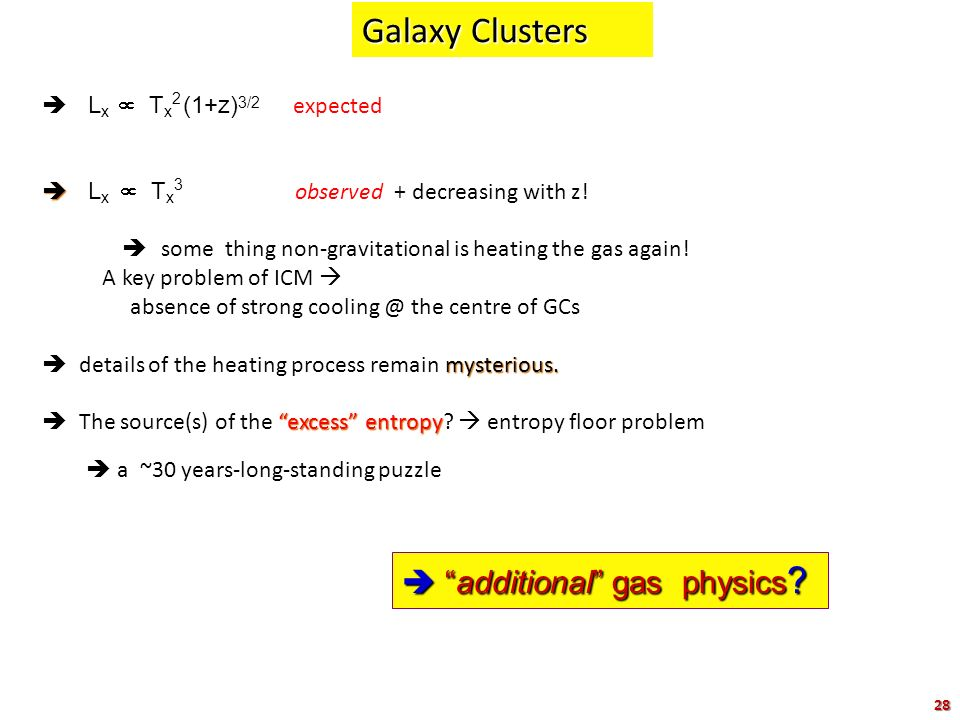 Galaxy Clusters  additional gas physics