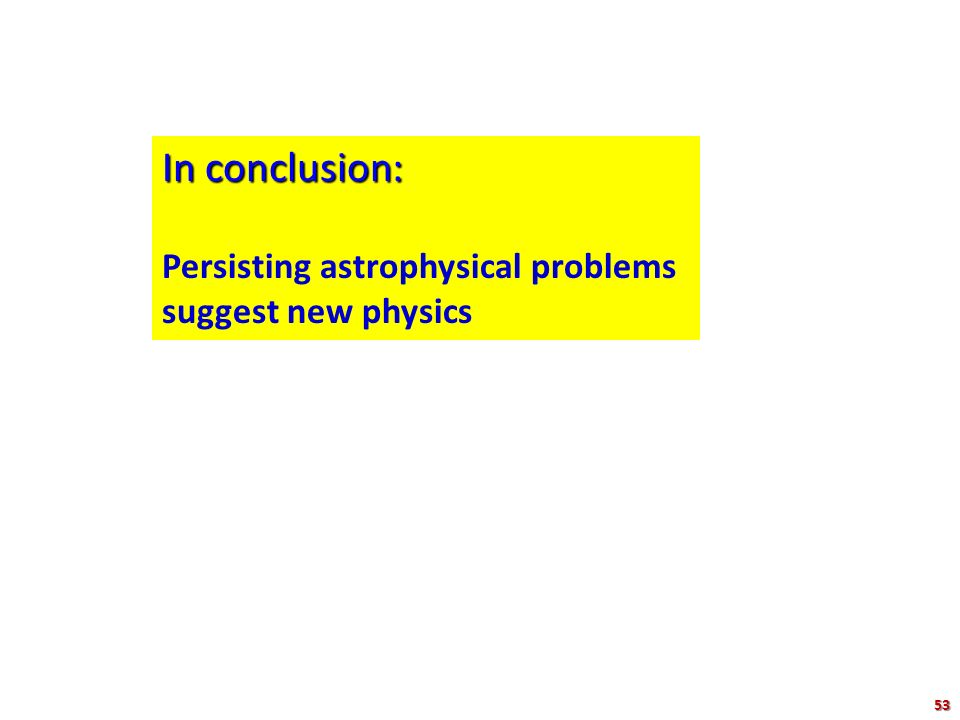 In conclusion: Persisting astrophysical problems suggest new physics