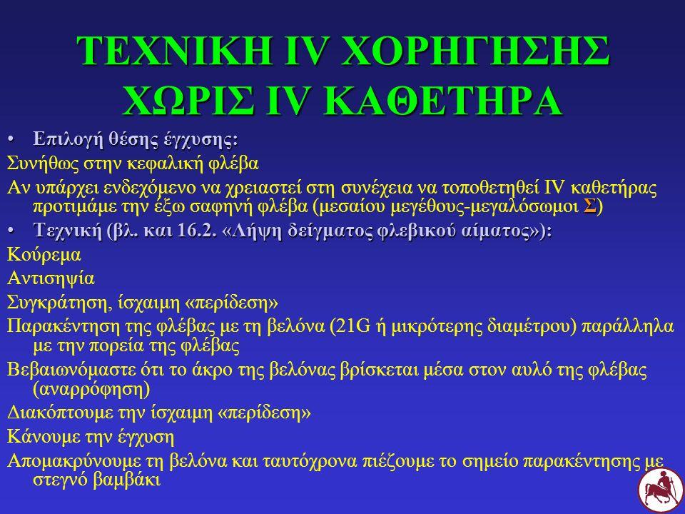 ΤΕΧΝΙΚΗ ΙV ΧΟΡΗΓΗΣΗΣ ΧΩΡΙΣ ΙV ΚΑΘΕΤΗΡΑ