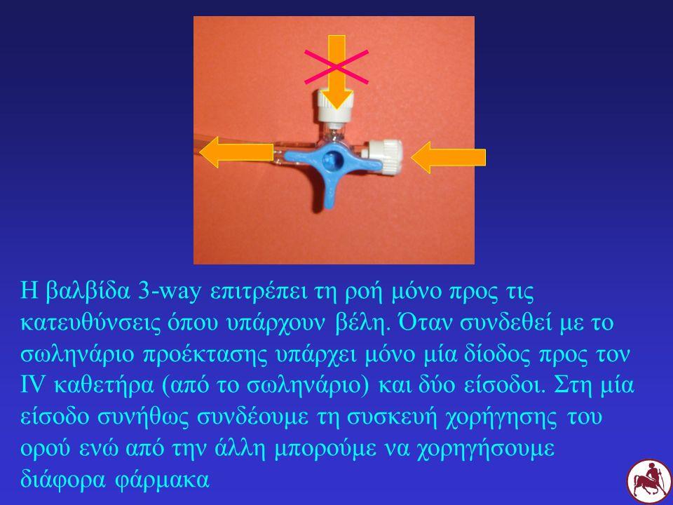 Η βαλβίδα 3-way επιτρέπει τη ροή μόνο προς τις κατευθύνσεις όπου υπάρχουν βέλη.