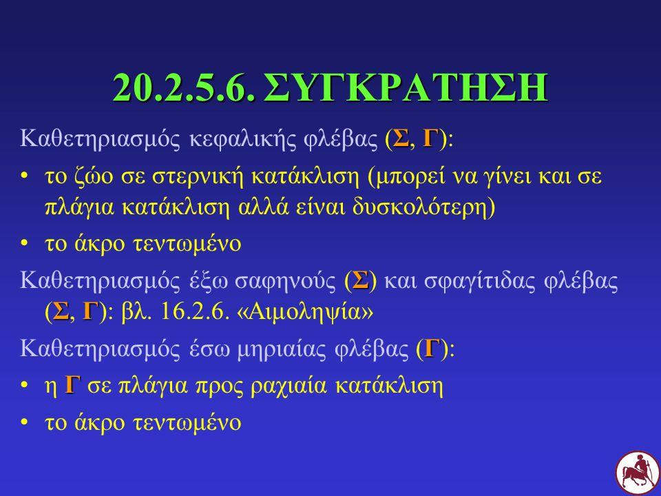 20.2.5.6. ΣΥΓΚΡΑΤΗΣΗ Καθετηριασμός κεφαλικής φλέβας (Σ, Γ):