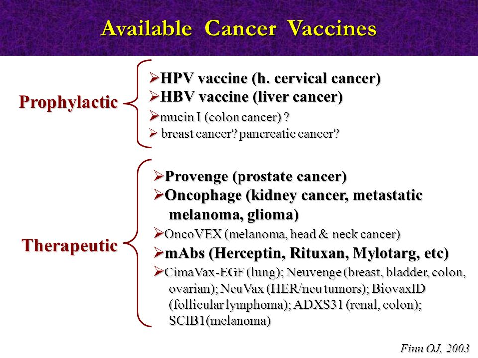 Available Cancer Vaccines
