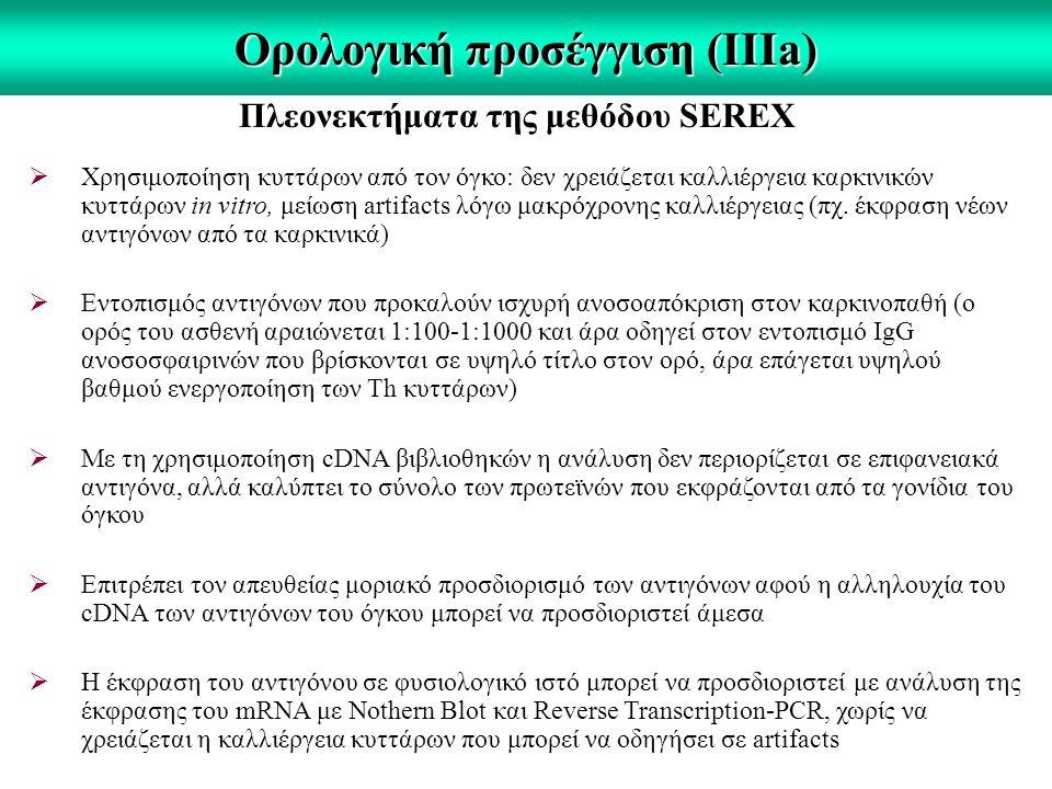 Ορολογική προσέγγιση (IIΙa) Πλεονεκτήματα της μεθόδου SEREX