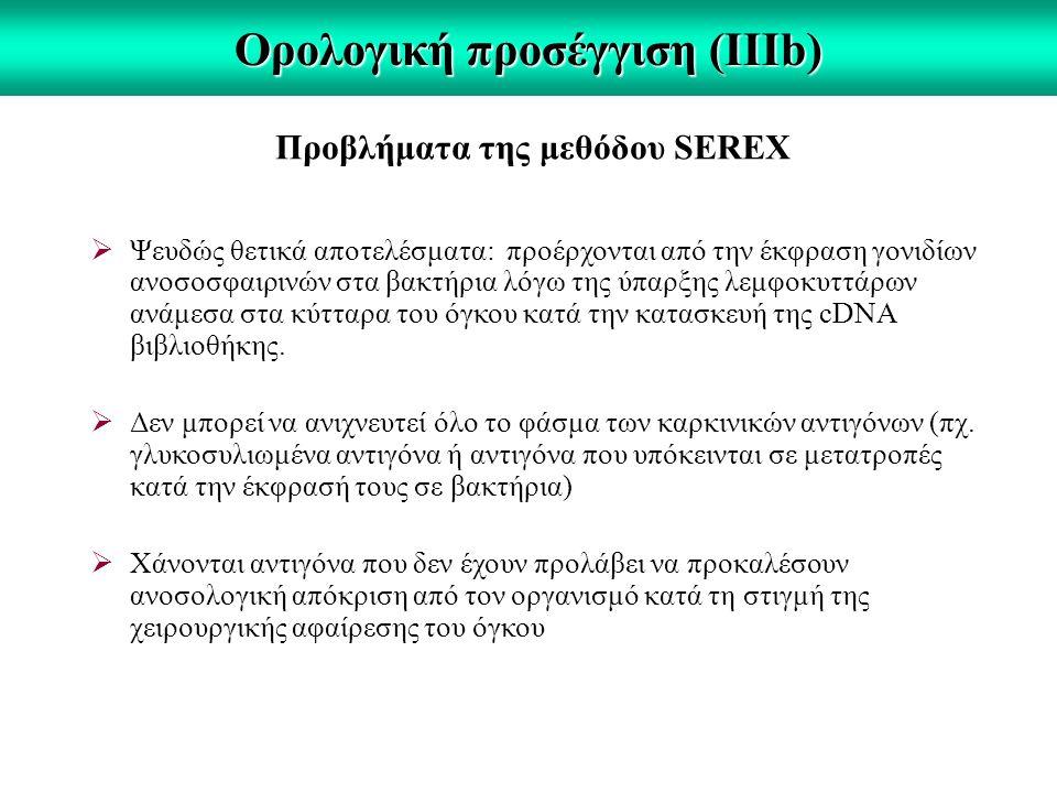 Ορολογική προσέγγιση (IΙIb) Προβλήματα της μεθόδου SEREX