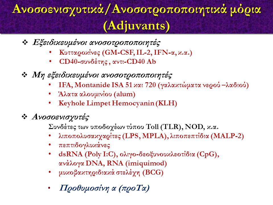 Ανοσοενισχυτικά/Ανοσοτροποποιητικά μόρια (Adjuvants)