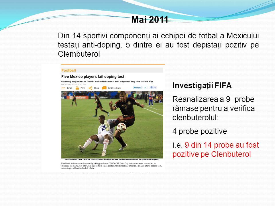 Mai 2011 Din 14 sportivi componenți ai echipei de fotbal a Mexicului testați anti-doping, 5 dintre ei au fost depistați pozitiv pe Clembuterol.