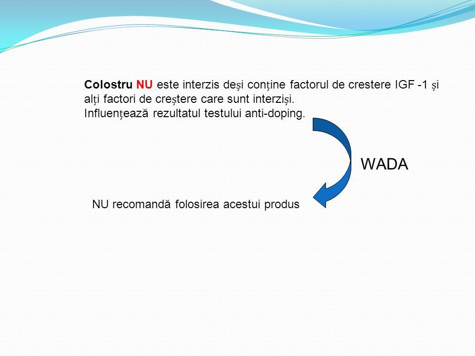 Colostru NU este interzis deși conține factorul de crestere IGF -1 și