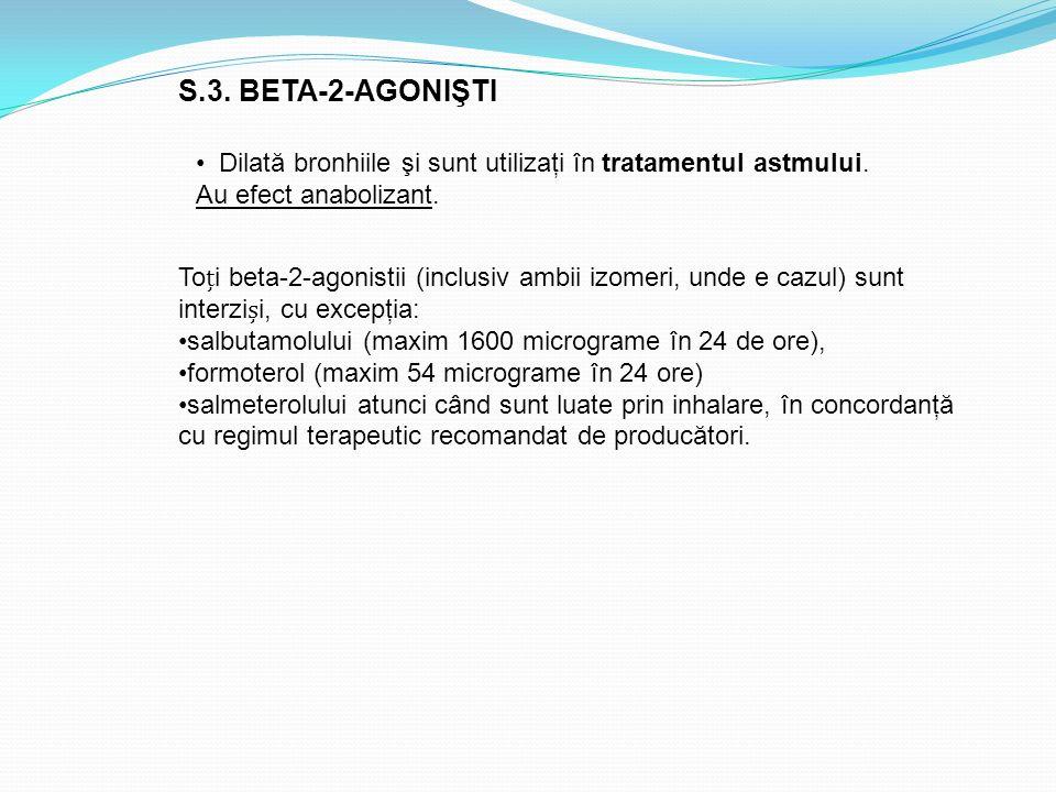 S.3. BETA-2-AGONIŞTI Dilată bronhiile şi sunt utilizaţi în tratamentul astmului. Au efect anabolizant.