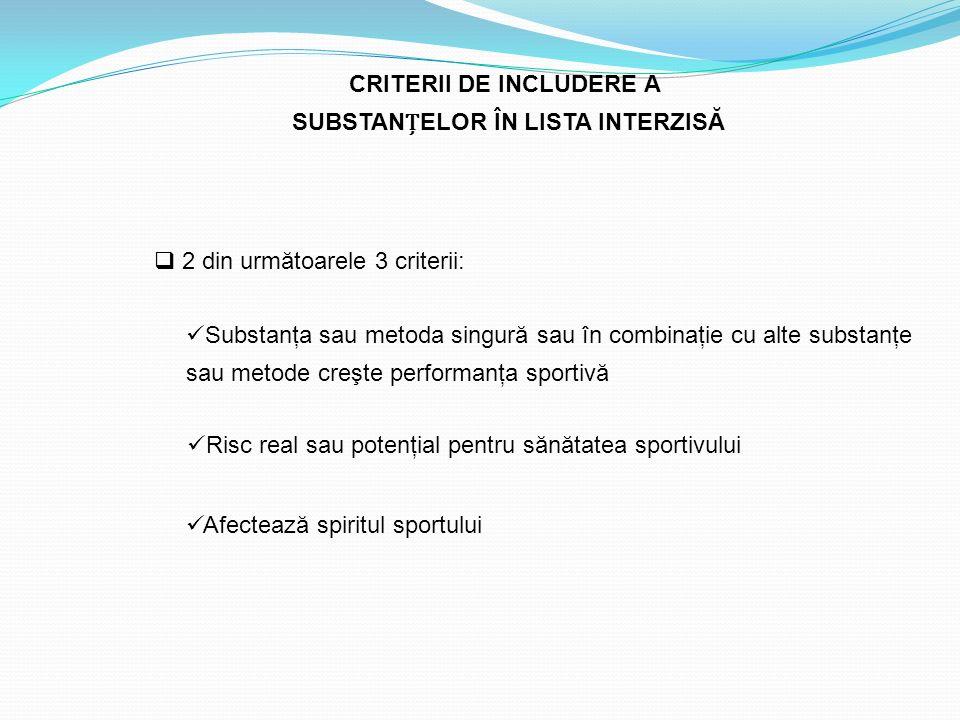 CRITERII DE INCLUDERE A SUBSTANȚELOR ÎN LISTA INTERZISĂ