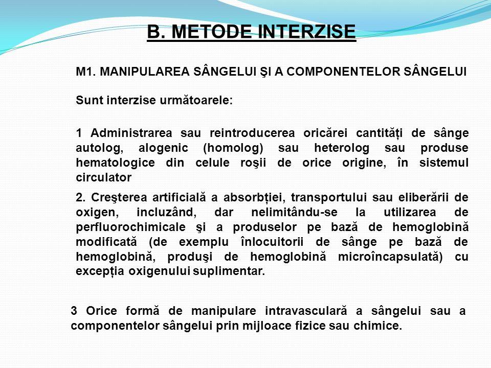 B. METODE INTERZISE M1. MANIPULAREA SÂNGELUI ŞI A COMPONENTELOR SÂNGELUI. Sunt interzise următoarele: