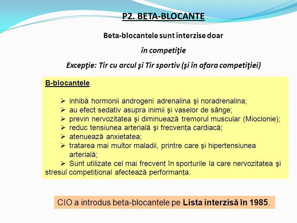 P2. BETA-BLOCANTE Beta-blocantele sunt interzise doar în competiţie