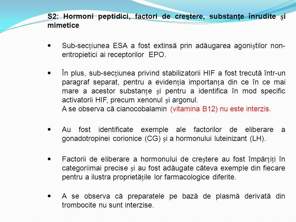 S2: Hormoni peptidici, factori de creştere, substanţe înrudite și mimetice