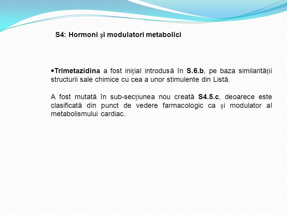 S4: Hormoni și modulatori metabolici