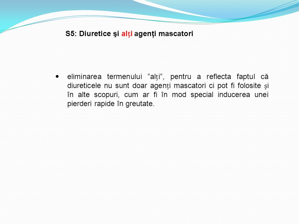 S5: Diuretice şi alți agenţi mascatori