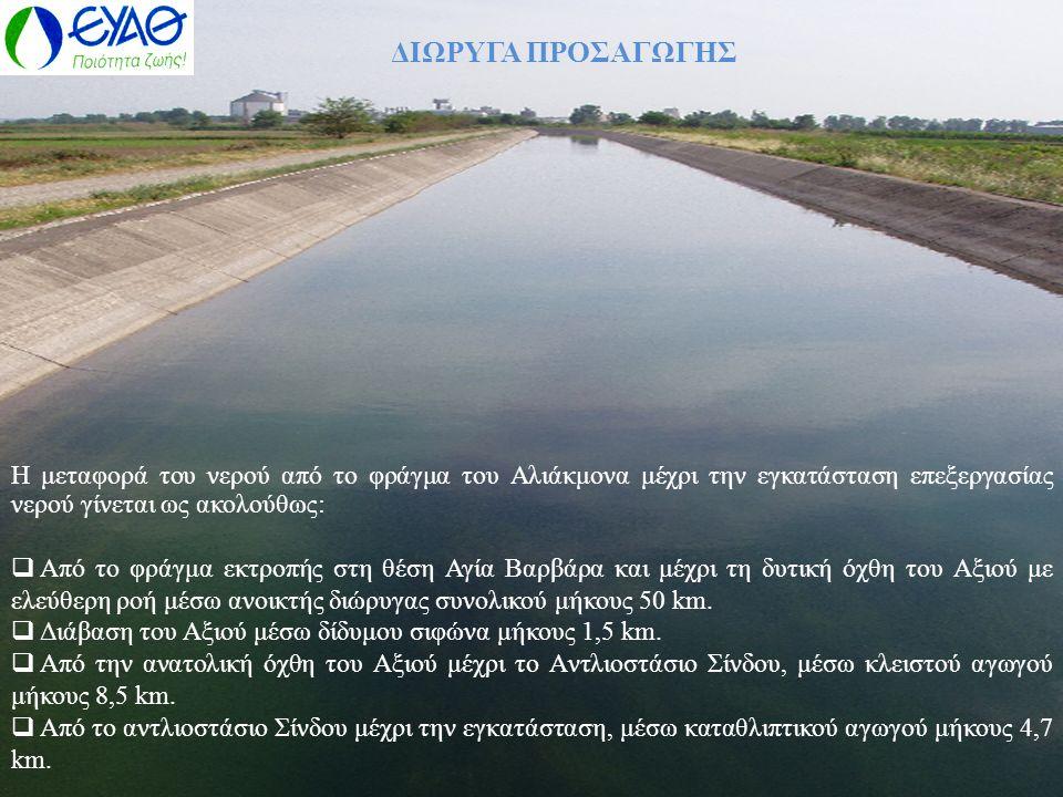 ΔΙΩΡΥΓΑ ΠΡΟΣΑΓΩΓΗΣ Η μεταφορά του νερού από το φράγμα του Αλιάκμονα μέχρι την εγκατάσταση επεξεργασίας νερού γίνεται ως ακολούθως: