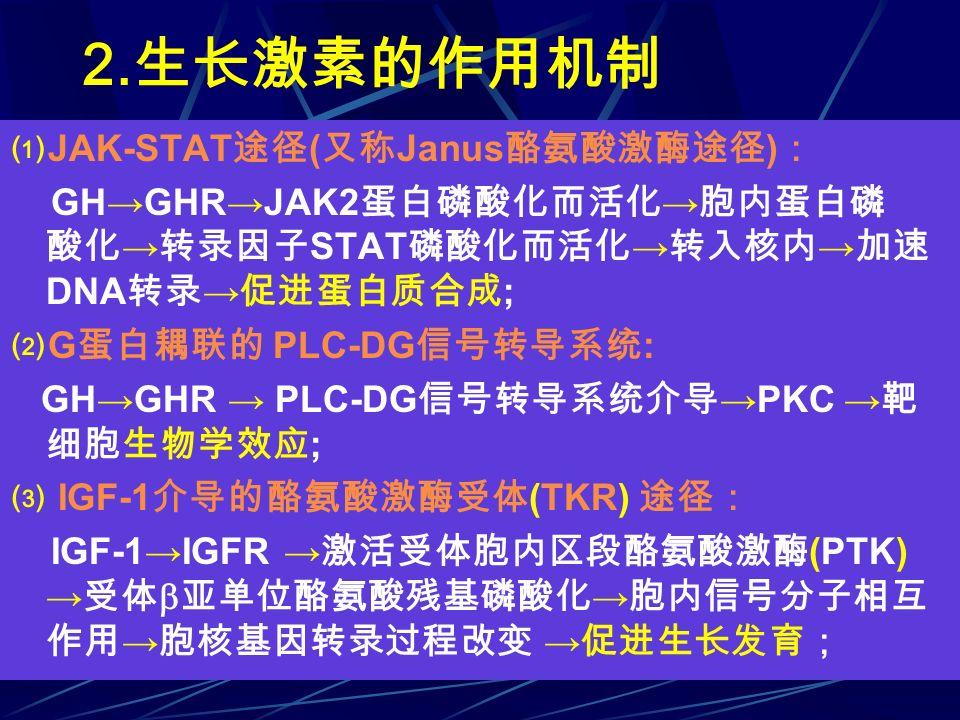 2.生长激素的作用机制 ⑴JAK-STAT途径(又称Janus酪氨酸激酶途径):