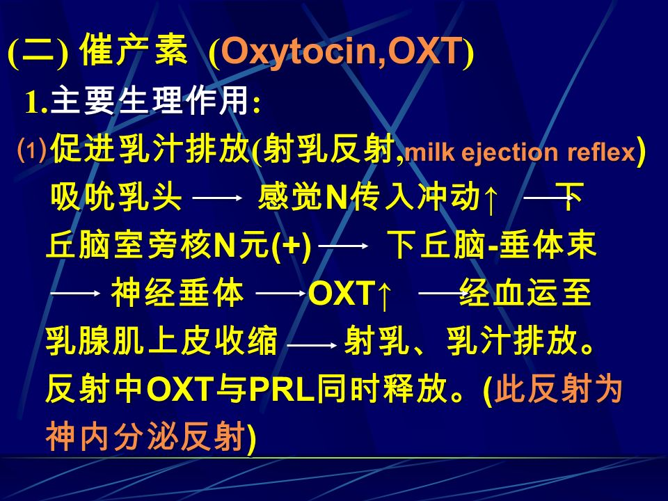 (二) 催产素 (Oxytocin,OXT) 1.主要生理作用: ⑴促进乳汁排放(射乳反射,milk ejection reflex)