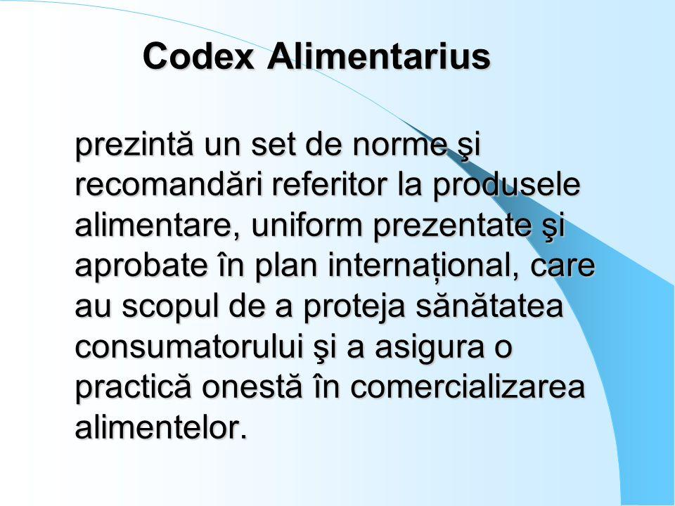 Codex Alimentarius prezintă un set de norme şi recomandări referitor la produsele alimentare, uniform prezentate şi aprobate în plan internaţional, care au scopul de a proteja sănătatea consumatorului şi a asigura o practică onestă în comercializarea alimentelor.