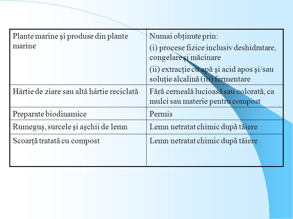 Plante marine şi produse din plante marine