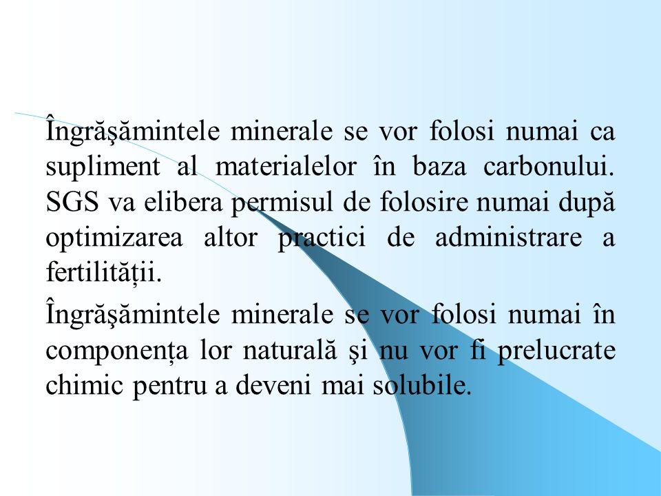 Îngrăşămintele minerale se vor folosi numai ca supliment al materialelor în baza carbonului. SGS va elibera permisul de folosire numai după optimizarea altor practici de administrare a fertilităţii.