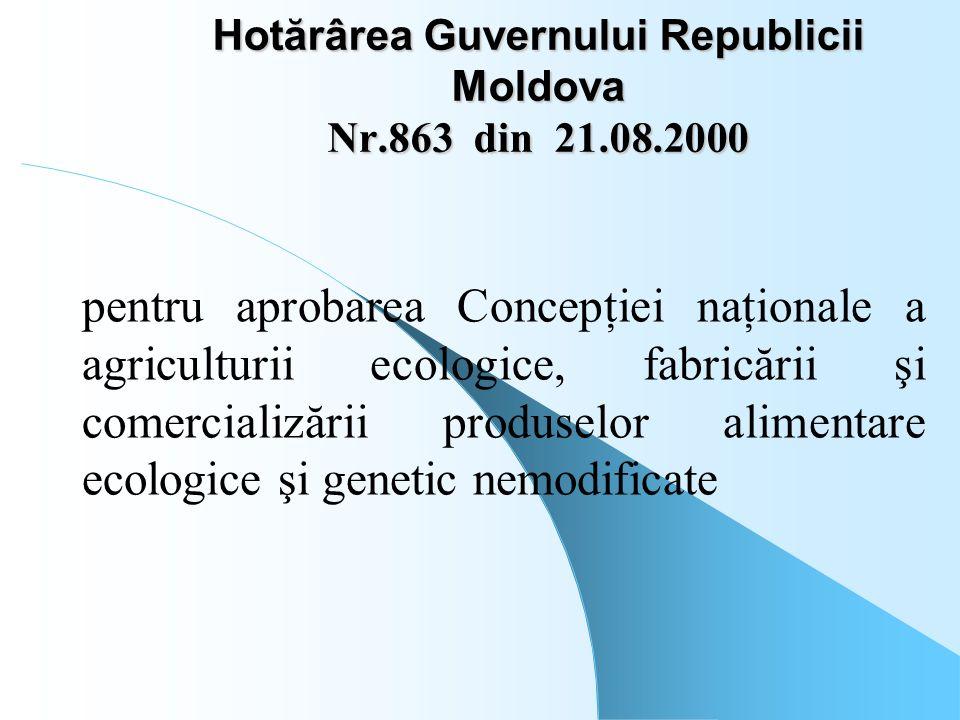 Hotărârea Guvernului Republicii Moldova Nr.863 din 21.08.2000