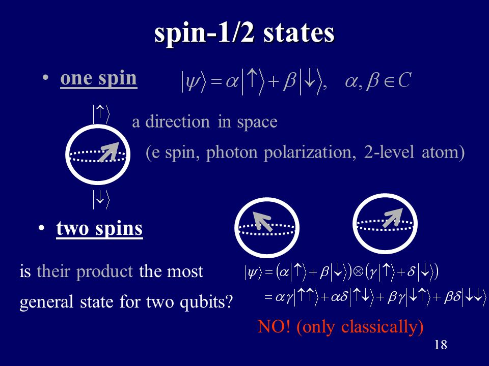 spin-1/2 states one spin two spins a direction in space